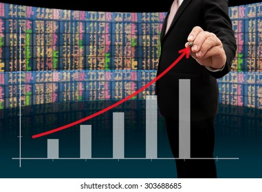Investor with growth chart of profits.