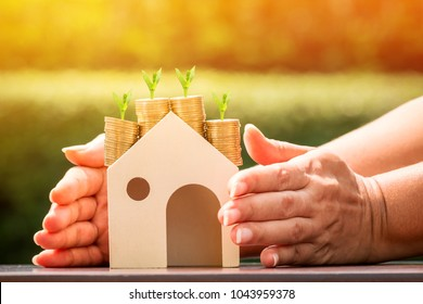 Investor hand embracing a stack coin with savings substantial money inside the house and plant growing on the top in the public park, Business investment or loan for real estate concept.