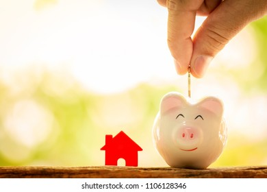 Investor hand hold a coin with save in the piggy bank and a red home model for family put on the wood on sunlight in the public park, Loan or save for buy a new house and real estate concept.
