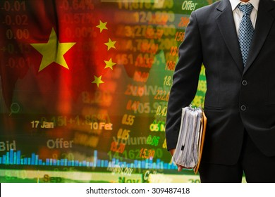 investor hold files on china stock background