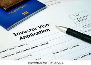 Investor Visa Application form to travel or immigration. Document with passport, apply and permission for foreigner country