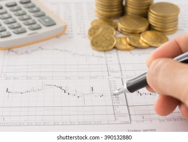 Investors are analyzing stock trends. Concept of business, finance, investment, financial service.