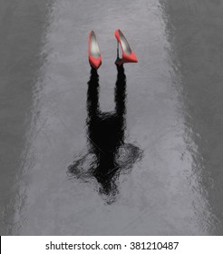 Invisible Woman with red high heels standing on the wet floor. Create your own reality, DIY. Healthy lifestyle concept. Superman pose.  Missing Lost person.