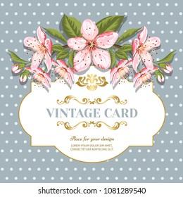 Invitation card of color sacura blossom flowers. Vintage floral invitation for spring or summer bridal shower. Frame card background in polka dots.