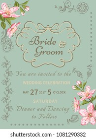 Invitation card of color sacura blossom flowers. Vintage floral invitation for spring or summer bridal shower. Frame card background with mehendi elements.