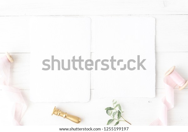 Invitation Card Mockup Wedding Birthday Desktop Stock Photo