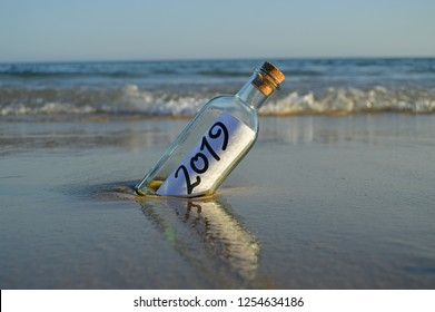 Invitation for a party end of the year 2019 in a bottle