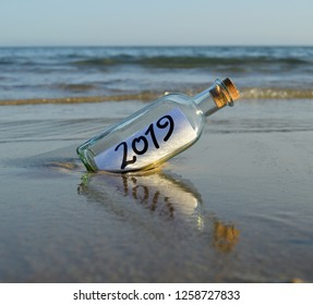 Invitation for a party at the end of the year 2019 on the beach