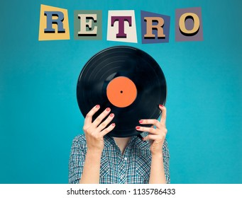 Invitation for retro party. Retro picture of woman with vinyl record on blue background. Retro letters.