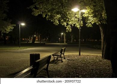 invitation for a romantic stroll -park at night