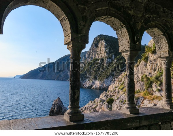 Invitation to travel and meditation from the old open window of saint Peter's church in Porto Venere