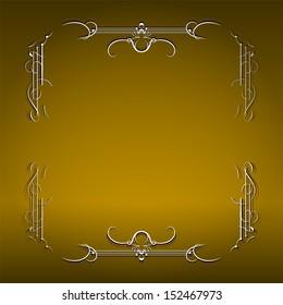 Invitation vintage card - golden design, raster