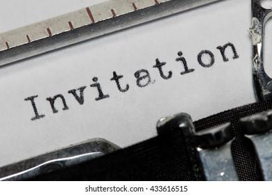 Invitation written on an old typewriter