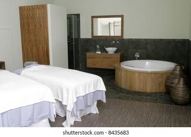 An inviting Burmese style spa room