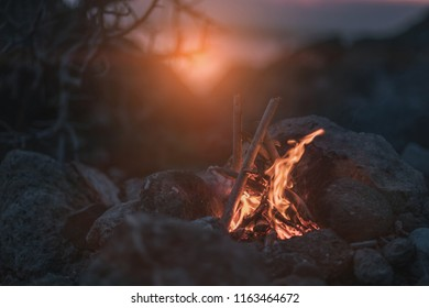 Inviting campfire on the beach during the summer. before night