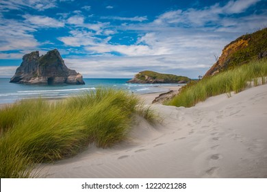Inviting path through Sand Dunes and Grass Vegetation at Famous Wharariki Beach, South Island New Zealand