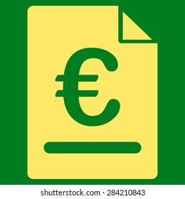 Invoice from BiColor Euro Banking Icon Set. Glyph style: flat, yellow symbol, rounded angles, green background.