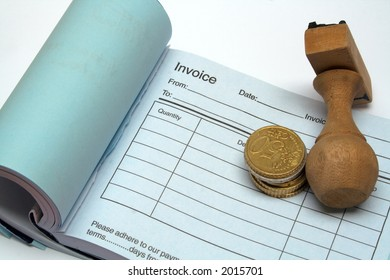 Invoice book with euro coins and stamp