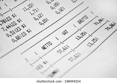 Invoice sheet with gross and net prices and vat tax value