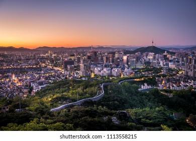 Inwangsan Mountain Seoul, Beautiful landscape in the mountains at sunrise. Seoul ,South Korea.