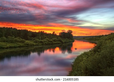 Inya river in Novosibirsk region during beautiful summer sunset