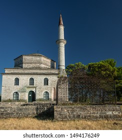 Ioannia/ Greece Aug 12, 2019: View on the Fethiye Mosque with the tomb of Ali Pasha in the foreground. The mosque was renovated by Ali Pasha in 1795