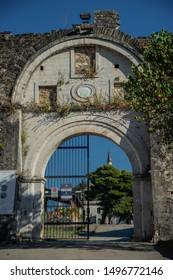 Ioannia/ Greece Aug 12, 2019: View on the main Gate of the Fethiye Mosque with the tomb of Ali Pasha