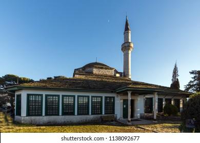 IOANNINA, GREECE - DECEMBER 27, 2014: Amazing Sunset view of Aslan Pasha Mosque in castle of city of Ioannina, Epirus, Greece