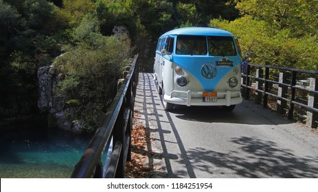 IOANNINA, GREECE, SEPTEMBER 14, 2018. Classic car VW Type 2 (T1) Microbus, made in Brasil in 1975, during a classic rally at the area of Ioannina, Epirus in Greece.