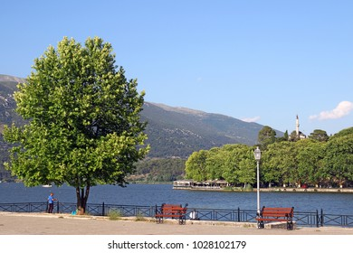 Ioannina lake and Aslan Pasha mosque landscape summer season