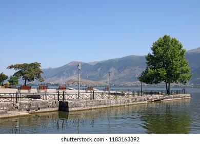 Ioannina lake and mountain Epirus Greece