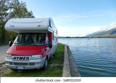 Ioannina, October 31, 2019 Camper parked near Lake Pamvotida in Ioannina, Epirus