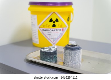 Iodine 131(I-131)Radioactive isotopes used for hyperthyroidism treatment are stored in Lead boxes for safety.
