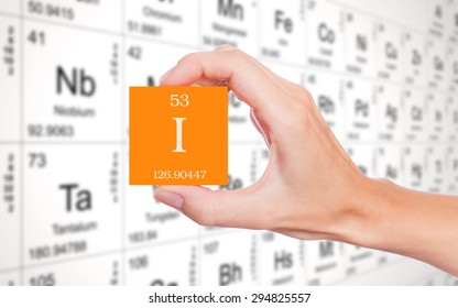 Iodine symbol handheld in front of the periodic table
