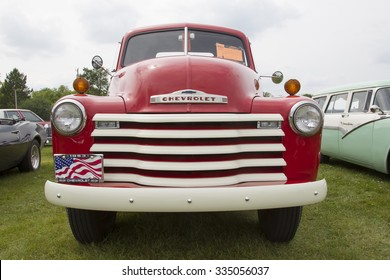 IOLA, WI - JULY 11:  Front of Red 1953 Chevrolet pickup truck at Iola 43nd Annual Car Show July 11, 2015 in Iola, Wisconsin.