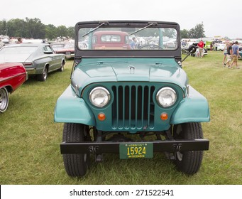 IOLA, WI - JULY 12:  Front of 1965 Willys Jeep Car at Iola 42nd Annual Car Show July 12, 2014 in Iola, Wisconsin.