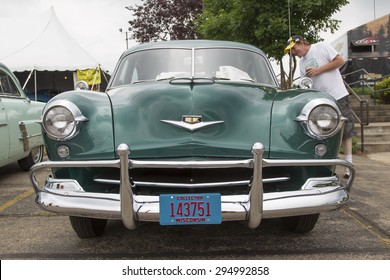 IOLA, WI - JULY 12:  Front view of 1952 Kaiser Virginian Traveler Car at Iola 42nd Annual Car Show July 12, 2014 in Iola, Wisconsin.