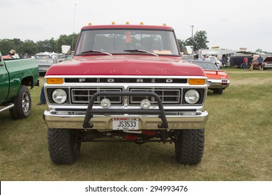 IOLA, WI - JULY 12:  Front of 1977 Red Ford F150 Pickup Truck at Iola 42nd Annual Car Show July 12, 2014 in Iola, Wisconsin.