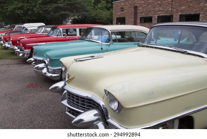 IOLA, WI - JULY 12:  Row of Vintage 1950's Cadillac Cars at Iola 42nd Annual Car Show July 12, 2014 in Iola, Wisconsin.