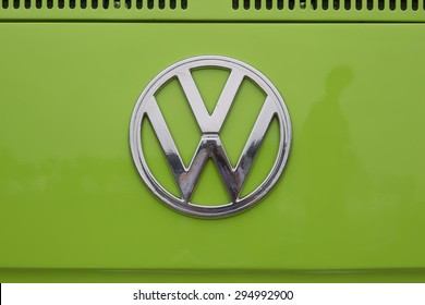 IOLA, WI - JULY 12:  Symbol on 1971 Volkswagen VW Van Green Car at Iola 42nd Annual Car Show July 12, 2014 in Iola, Wisconsin.