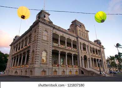 Iolani Palace, the only royal palace in the United States, is decorated with colorful lanterns for the holiday season.