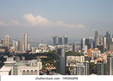 ION SKY, ORCHARD, SINGAPORE, JULY, 2016: city skyline of Singapore from the 55 floor of ION SKY in Orchard, Singapore