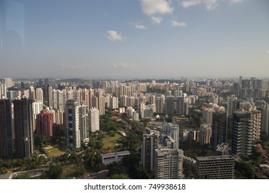 ION SKY, ORCHARD, SINGAPORE, JULY, 2016: aerial view of Singapore city center at the 55 floor of ION SKY, Singapore