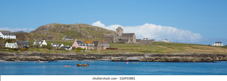 Iona Scotland uk Inner Hebrides Scottish island off the Isle of Mull west coast of Scotland a popular tourist destination known for the abbey panorama