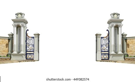 Ionic colonnade with Main gate isolated on white background this has clipping path.