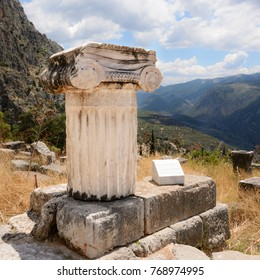Ionic column at Delfi , Greece