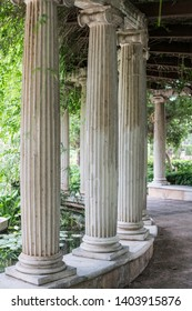 Ionic columns located in the Jardines de los Viveros in Valencia, Spain.