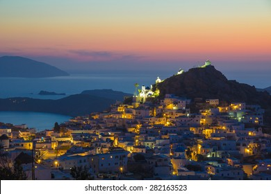 Ios Hora town during sunset, Ios island, Cyclades, Aegean, Greece