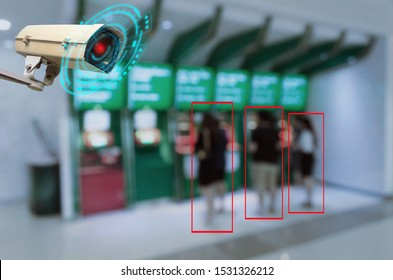 IOT CCTV, security indoor camera motion detection system operating with people withdraw money from ATM, cctv solution management system, surveillance security, safety intelligent technology concept