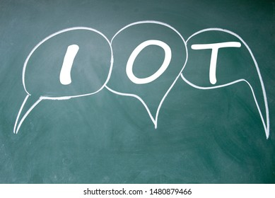 Iot connect sign on blackboard